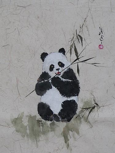 Panda peinture style chinois