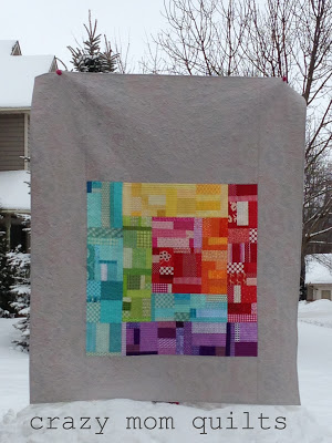 rainbow log cabin quilt finished watermark