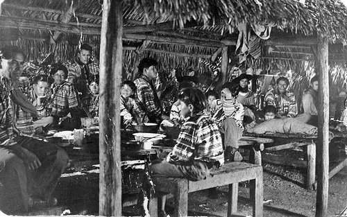 Seminole Indians gathered under a chickee