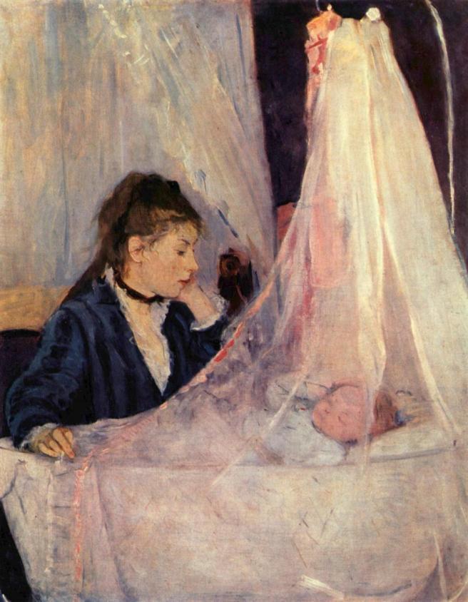 Berthe Morisot, le berceau 1874 - Huile sur toile, 56 × 46 cm, musée d'Orsay, Paris. Ce tableau fut également exposé au premier salon impressionniste de 1874. « Sans conteste le tableau le plus célèbre de Berthe Morisot, Le berceau a été peint en 1872 à Paris. L'artiste y représente l'une de ses sœurs, Edma, veillant sur le sommeil de sa fille, Blanche. C'est la première apparition d'une image de maternité dans l'œuvre de Morisot, sujet qui deviendra l'un de ses thèmes de prédilection. En savoir plus sur http://www.rivagedeboheme.fr/pages/arts/peinture-19e-siecle/berthe-morisot.html#VYhGEQB0AEt8oPCH.99