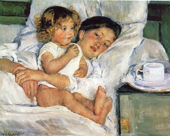 Mary Cassatt - Patit déjeuner au lit