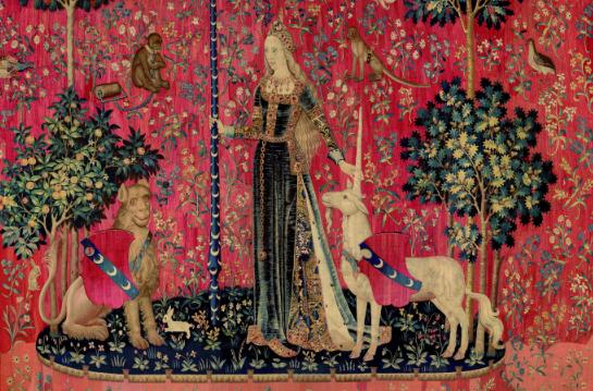 Tenture de La Dame à la licorne : Le Toucher, vers 1500, Paris, musée de Cluny – musée national du Moyen Âge