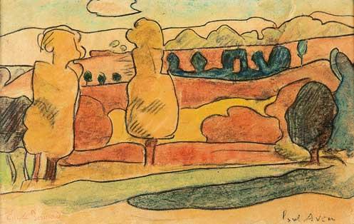 Paysage de Pont-Aven, Emile Bernard, 1888 (aquarelle, Musée de Pont-Aven, 29)