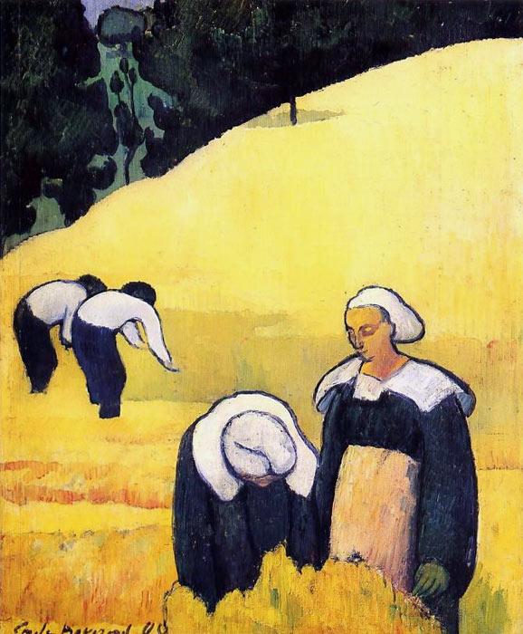 La Moisson d'un champ de blé, Emile Bernard, 1888