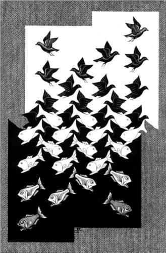 Sky and Water II - Artist: M.C. Escher Completion Date: 1938 Style: Op Art Genre: tessellation