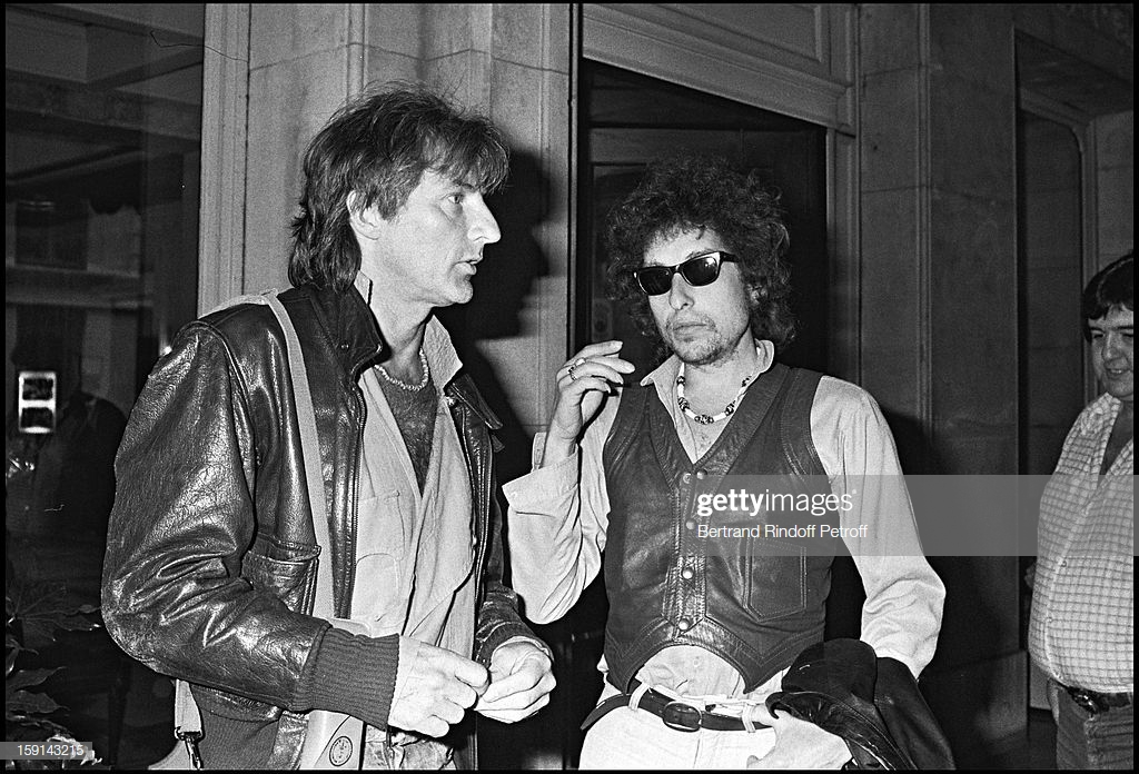 Bob Dylan with Hugues Aufray. (Photo by Bertrand Rindoff Petroff/Getty Images)